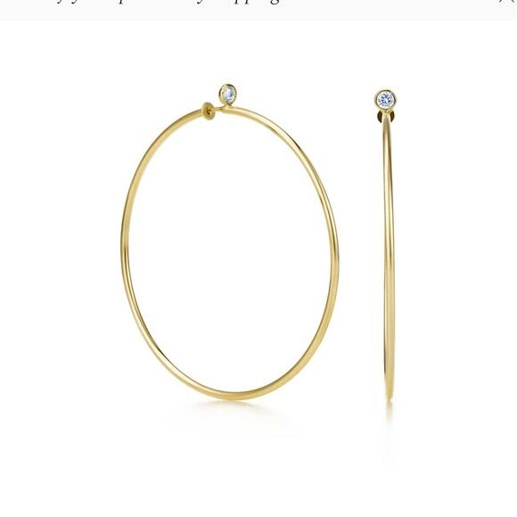6aa91f0b2 TIFFANY & CO. Diamond/Yellow Gold Hoop Earrings. M_5c8847052beb79c8d9827177